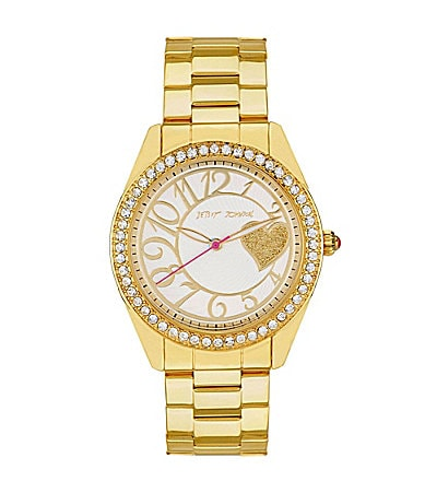Betsey Johnson Gold Bling Bling Time Heart Boyfriend Watch