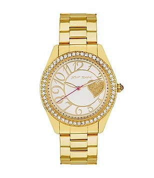 Betsey Johnson Bling Bling Time Analog Crystal Bezel Stainless Steel Boyfriend Watch