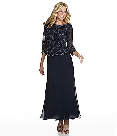jkara beaded chiffon gown dillards