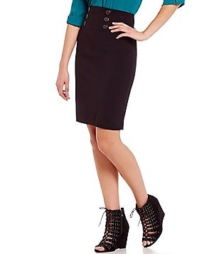 I.N. San Francisco Faux-Button Front High-Waist Pencil Skirt