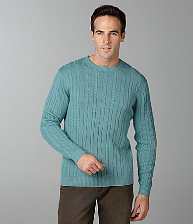 Roundtree & Yorke Solid Cable Crewneck Sweater