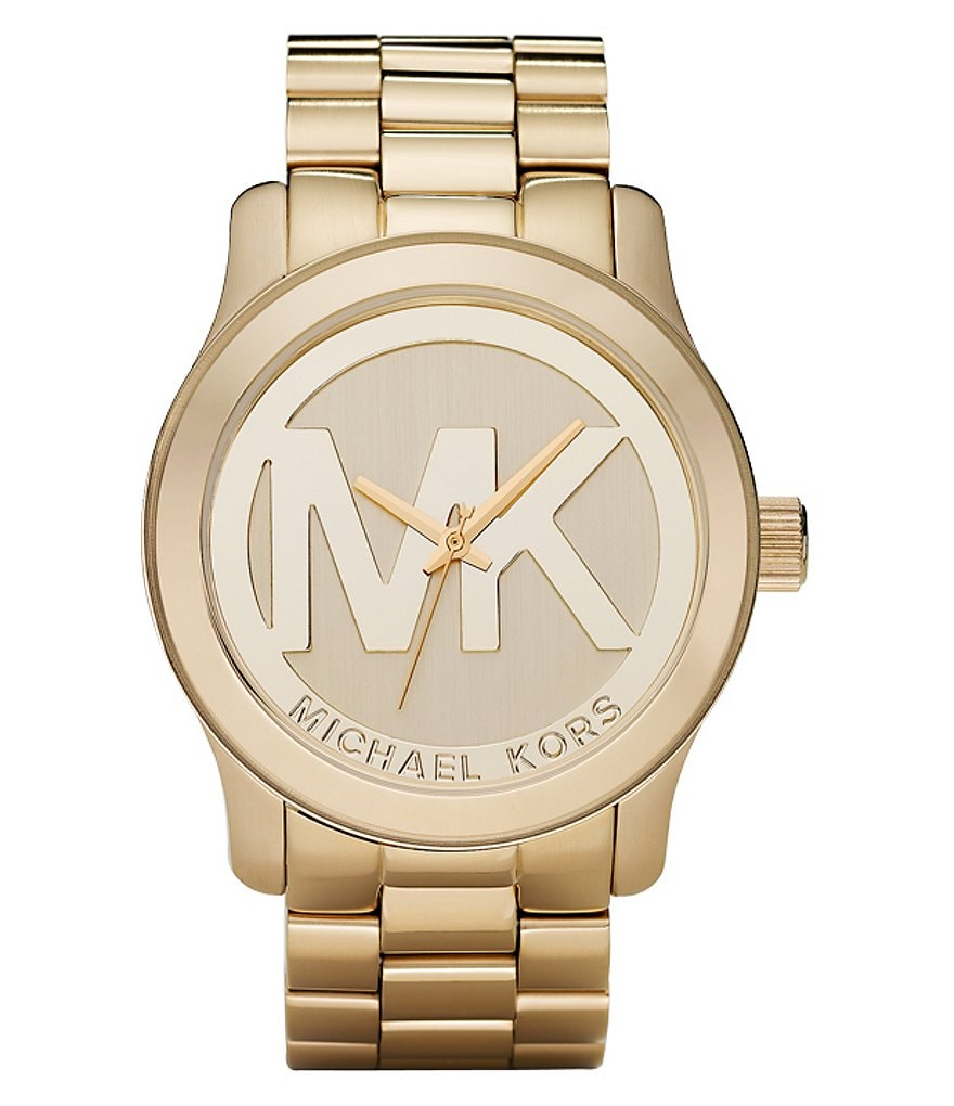 Michael Kors Logo Runway Goldtone Watch