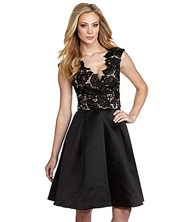 JS Collections Floral Lace & Satin Dress