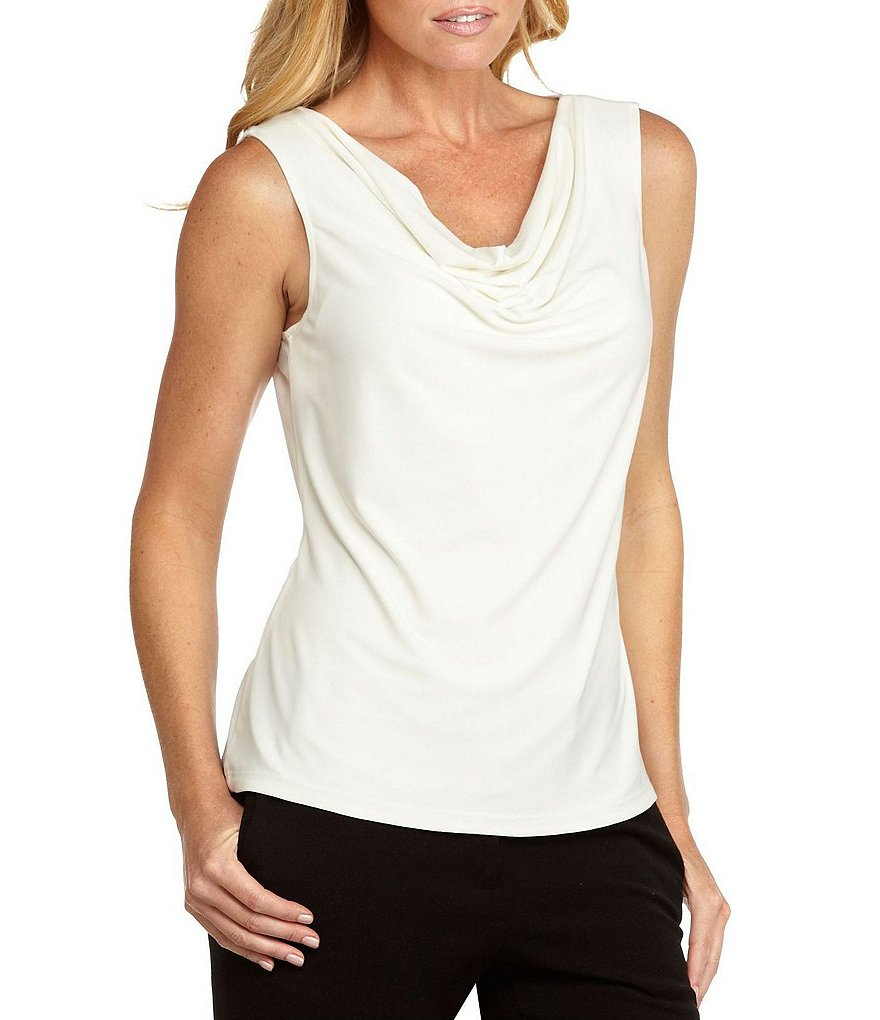 Tahari ASL Separates Sleeveless Drapeneck Blouse