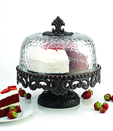 Artimino Venetian Footed Cake Plate with Hammered Glass Dome
