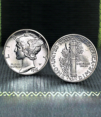 UPM United Precious Metals Mercury Dime Cuff Links