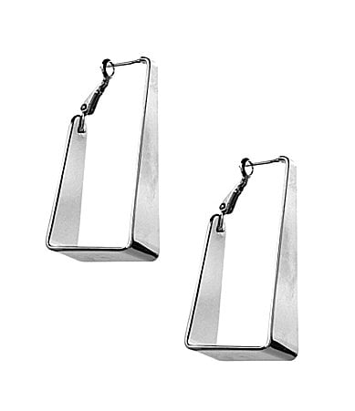 Vince Camuto Silvertone Triangular Hoop Earrings