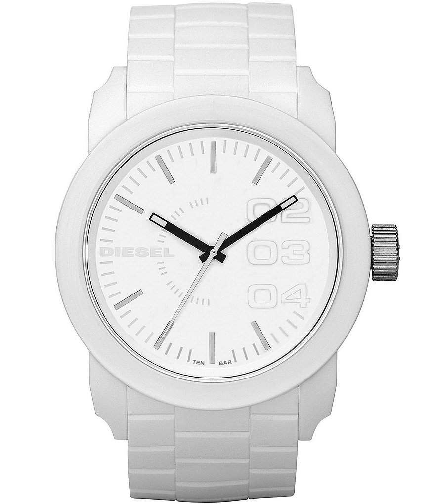 Diesel White Matte Plastic and Silicone 3 Hand Watch