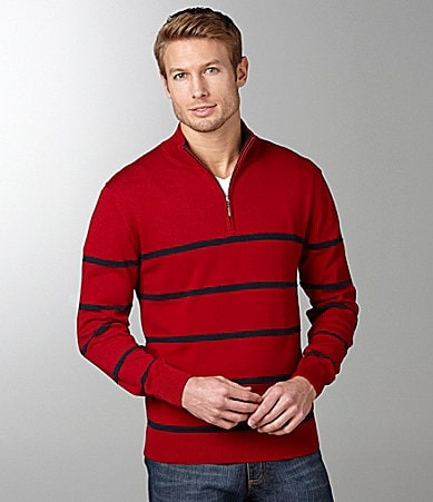 Roundtree & Yorke Striped Quarter-Zip Sweater