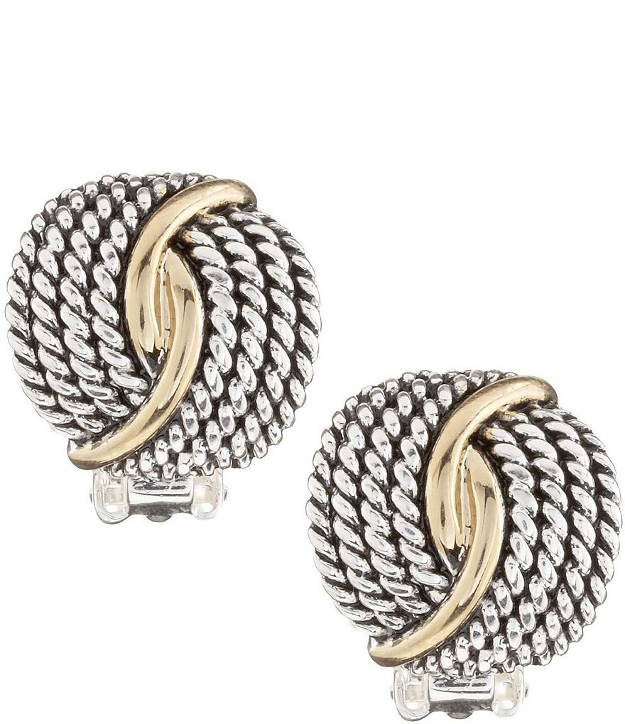 Dillard´s Tailored Two-Tone Textured Twist Clip-On Earrings