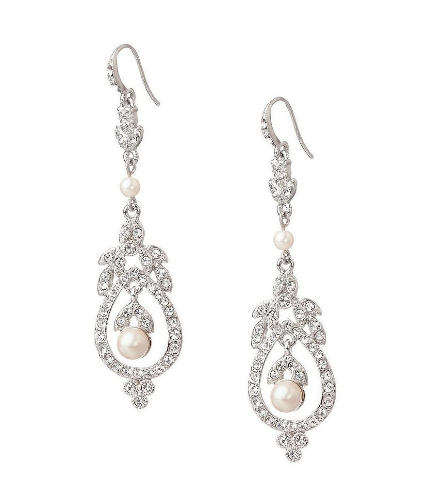 Carolee Pearl and Crystal French Wire Earrings