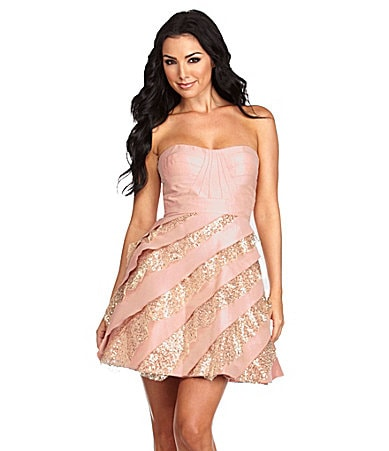 Hailey by Adrianna Papell Strapless Sequin-Tier Party Dress