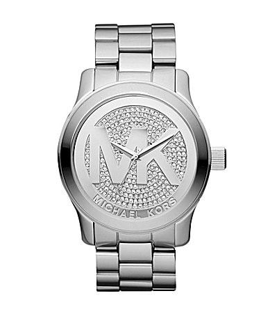 Michael Kors Runway Silver MK Logo Chronograph Watch