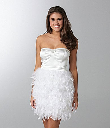 As U Wish Strapless Faux-Feather Dress