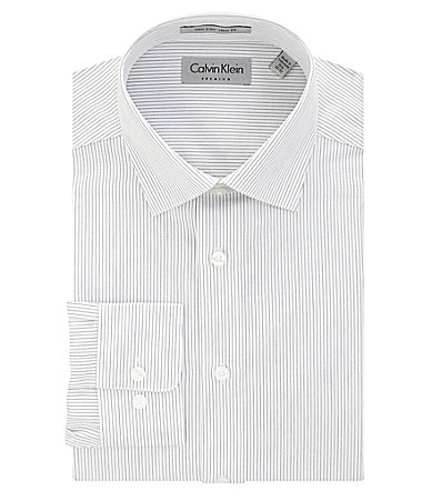 Calvin Klein Striped Point-Collar Dress Shirt