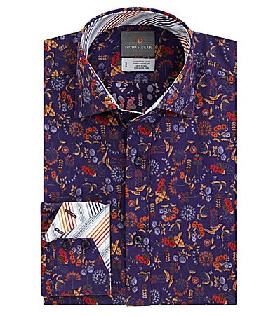 Thomas Dean Multi-Colored Floral Print Sportshirt