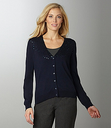 Jones New York Sport Sequin Embellished Cardigan