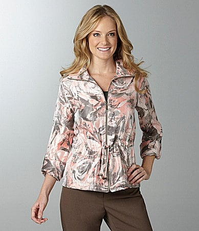 Ruby Rd. Rose-Print Shimmer Jacket