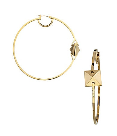 Vince Camuto Goldtone Frontal Pyramid Hoop Earrings