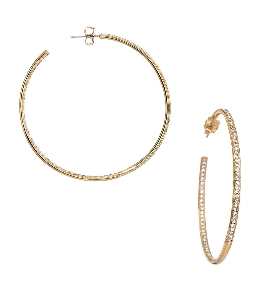 Nadri Goldtone Pav� Hoop Earrings