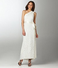 betsy adam one shoulder lace wedding dress from dillards