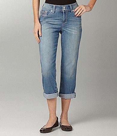 Code Bleu Embellished-Pocket Denim Capris