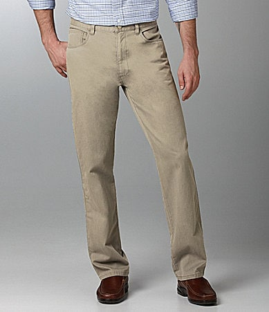 Roundtree & Yorke 5-Pocket Straight-Fit Twill Pants