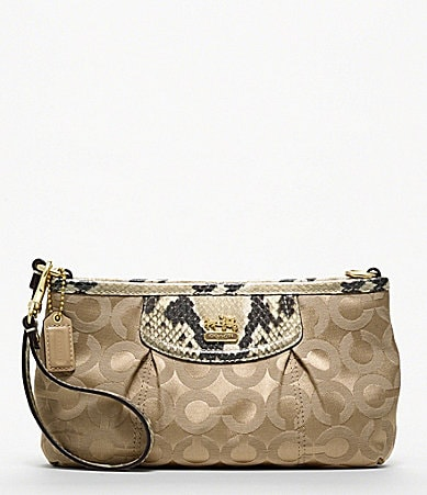 COACH MADISON OP ART SATEEN LARGE WRISTLET