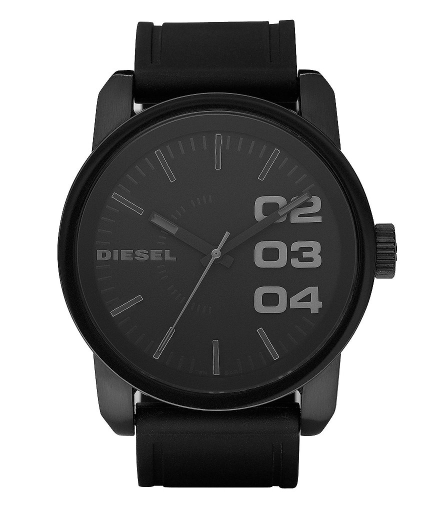 Diesel Silicone Strap Black-Dial Stainless Steel Analog Watch