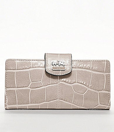 COACH MADISON EMBOSSED CROC SKINNY WALLET