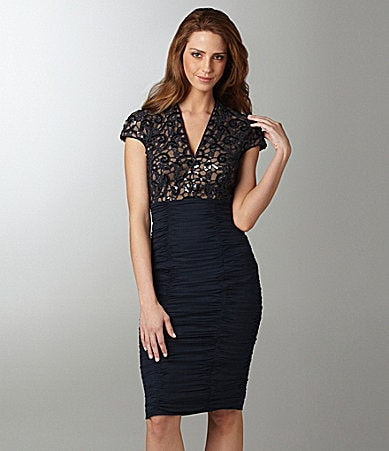 Tadashi Ruched Lace Dress