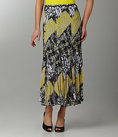 Multiples Abstract Print Skirt with belt