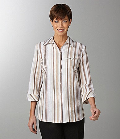 Allison Daley Textured Stripe Camp Shirt