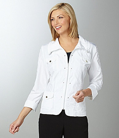 TanJay Woman Ruched Stand Collar Zip Jacket