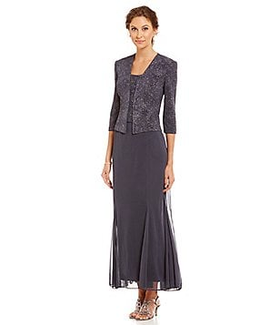 Alex Evenings Petite Jacquard Knit 2 Piece Dress