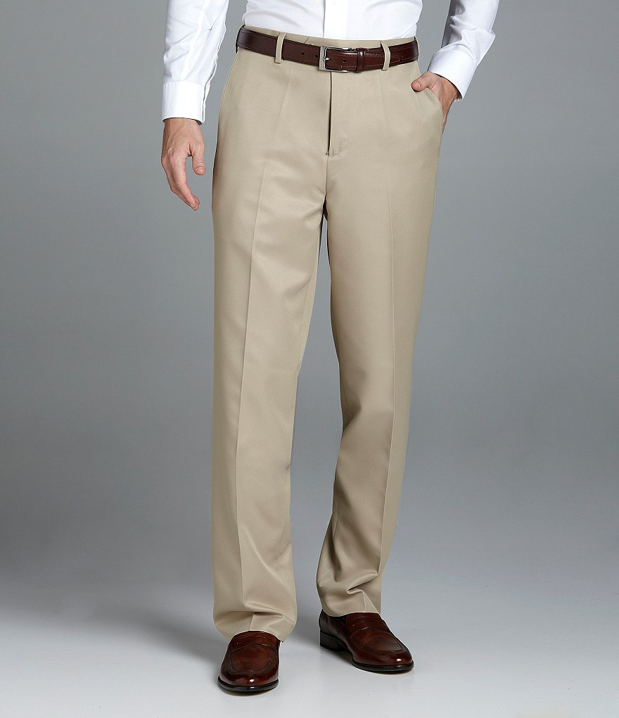 Roundtree & Yorke Microfiber Easy-Care Flat-Front Expander Dress Pants