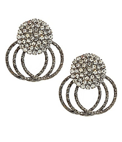 Natasha Accessories Pave Button Post Earrings