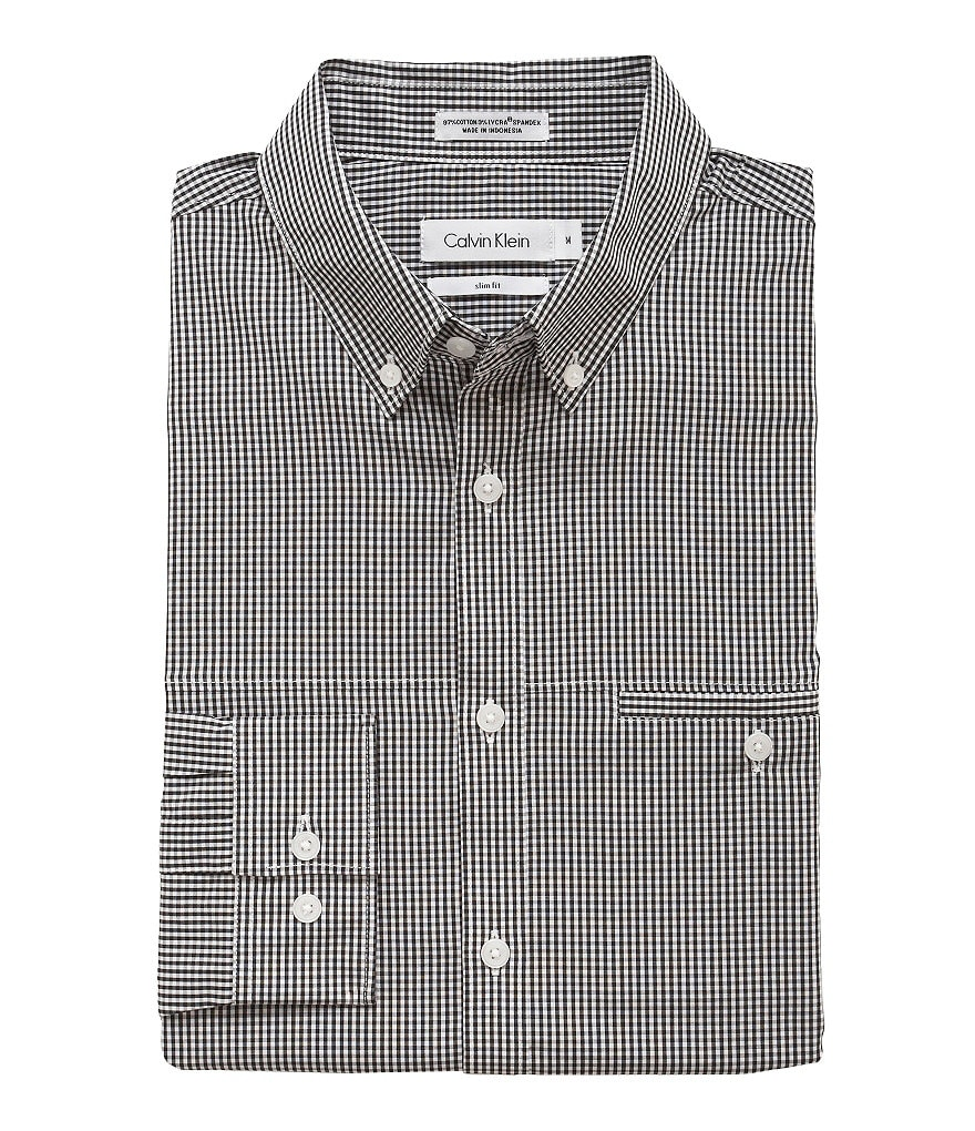 Calvin Klein Slim-Fit Mini-Check Gingham Sportshirt