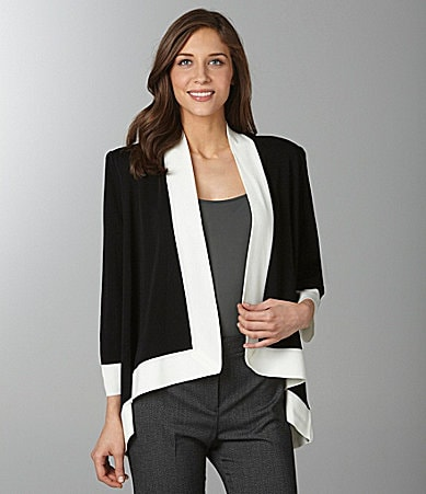 Exclusively Misook Contrast-Trim Cozy Cardigan