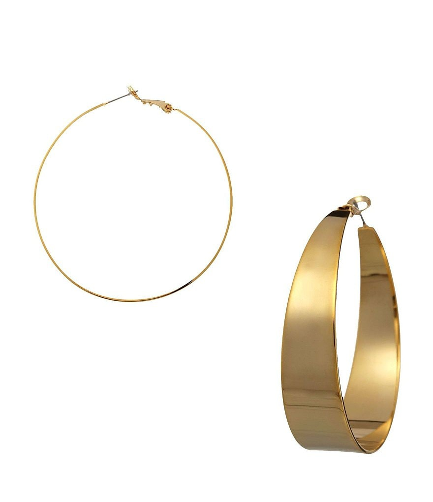 Vince Camuto Tapered Goldtone Hoop Earrings