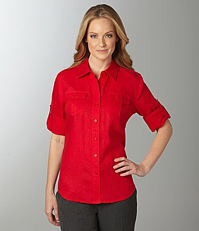 Jones New York Solid Linen Blouse