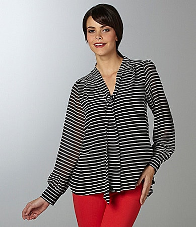 Vince Camuto Tie-Neck Striped Blouse
