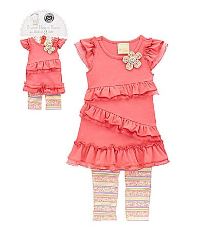 Sweet Heart Rose for Dollie & Me 3-8 Leggings Set with Doll Outfit