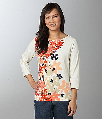 Ruby Rd. Woman Embellished Print Top