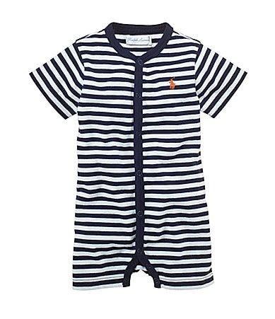Ralph Lauren Childrenswear Newborn Striped Crewneck Shortall