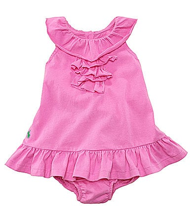 Ralph Lauren Childrenswear Newborn Ruffled Dress