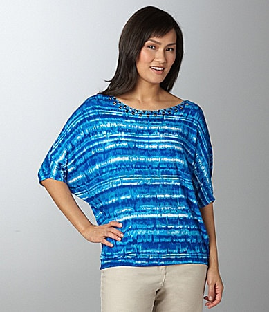 Ruby Rd. Petites Embellished Striped Top
