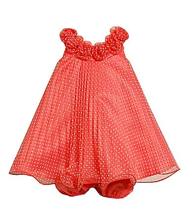 Bonnie Baby Newborn Flocked Dot Trapeze Dress & Panty