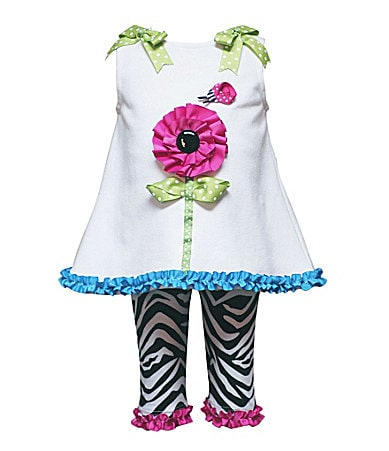 Rare Editions Newborn Flower-Appliqued Dress & Leggings Set