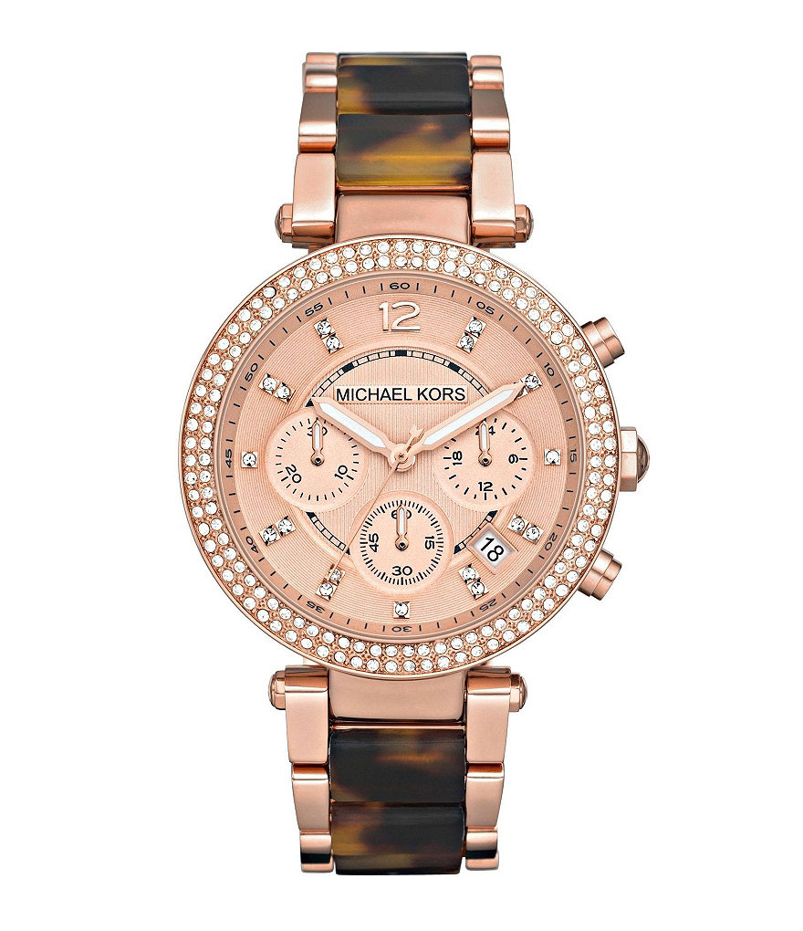 Michael Kors Parker Rose Gold and Tortoise Chronograph Watch